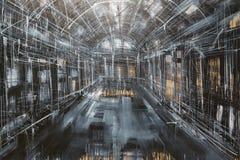 Arte abstrata da pintura: Dentro do colo da galeria, do cinza, o branco e o preto Imagens de Stock Royalty Free