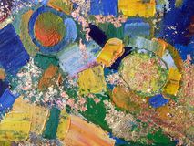 Arte abstrata da pintura do outono com texturas acrílicas naturais na lona ilustração stock