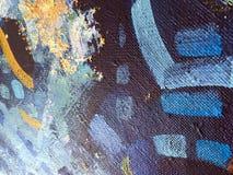 Arte abstrata da pintura do outono com texturas acrílicas naturais na lona ilustração royalty free