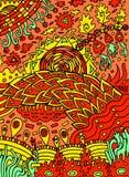 Arte abstrata psicadélico da garatuja da hippie colorida Ilustração tirada mão dos desenhos animados Arte -final do vetor ilustração stock