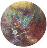 Arte abstrato, círculo colorido em um fundo branco, textura enrugada, textura rachada, fundo abstrato, círculo abstrato Fotos de Stock Royalty Free