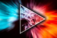 A arte abstrato coloriu o fumo na forma de um tri?ngulo foto de stock