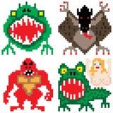 Arte ad otto bit del pixel di terrore del mostro peggiore di orrore Immagini Stock