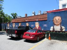 Arte americano de la pared del comensal de la ciudad en la porción imagenes de archivo