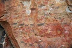 Arte antica della roccia sulla parete della caverna Fotografia Stock