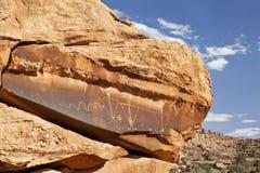 Arte antiga da rocha com serpente Fotos de Stock