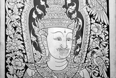 Arte, Asia, fondo, pájaro, negro, budista, canv Fotografía de archivo libre de regalías