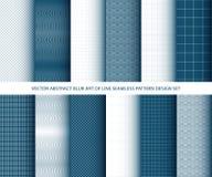 Arte azul abstracto del vector de las líneas sistema inconsútil del diseño del modelo Fotos de archivo libres de regalías