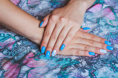 Arte azul claro del clavo Imagen de archivo libre de regalías