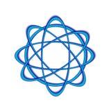Arte azul del logotipo del vector de la órbita atómica stock de ilustración