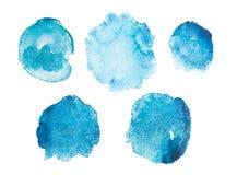 Arte azul dibujado mano abstracta de la acuarela de la acuarela stock de ilustración