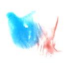 Arte azul, gota roja de la pintura de la tinta de la acuarela Fotografía de archivo
