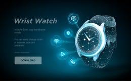 Arte bassa del wireframe dell'orologio poli su backgraund nero Presentazione delle funzioni astute dell'orologio sotto forma di c illustrazione di stock