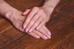 Arte branca e cor-de-rosa do prego Fotos de Stock Royalty Free