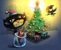 Arte caprichoso de la fiesta de Navidad Fotografía de archivo libre de regalías