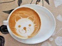 Arte Cat Face del café del Latte Imagen de archivo