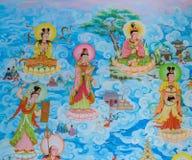 Arte chino de la pintura mural Foto de archivo