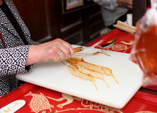 Arte cinese della pittura dello zucchero Fotografia Stock Libera da Diritti