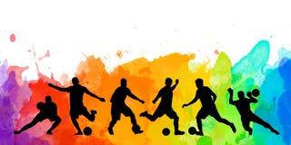 Arte coloful del cartel de la tarjeta de la bandera del diseño del ejemplo del fondo colorido de la silueta del balón de fútbol d Fotos de archivo libres de regalías