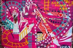 Arte coloreado magenta de la pared de la pintada Imágenes de archivo libres de regalías