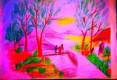 Arte colorida da paisagem do lápis ilustração royalty free