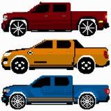 Arte colorida do pixel do vetor da coleção dos carros ilustração do vetor