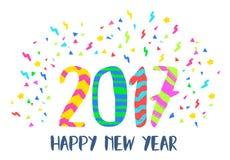 Arte colorido de la decoración del partido de la Feliz Año Nuevo 2017 ilustración del vector