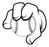 Mano de la historieta - béisbol - ejemplo del vector Imagen de archivo libre de regalías