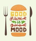 Arte concettuale dell'hamburger Alimento del ` di citazioni il buon è buon ` dell'umore Illustrazione di vettore della frase dell illustrazione vettoriale