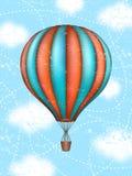Arte concettuale di vettore della mongolfiera Concetto del viaggio intorno al mondo illustrazione di stock