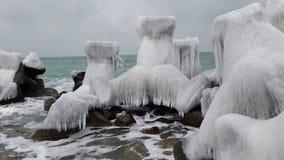 Arte congelata al Mar Nero nell'inverno fotografie stock libere da diritti