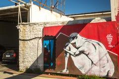 Arte contemporanea dei graffiti sui mura di cinta Immagini Stock