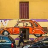 Arte contemporanea dei graffiti sui mura di cinta Fotografie Stock Libere da Diritti