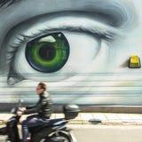 Arte contemporanea dei graffiti sui mura di cinta Immagini Stock Libere da Diritti