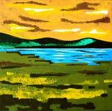 Arte contemporanea moderna - pittura - prato del lago sunset - colori verdi arancio blu Immagini Stock Libere da Diritti