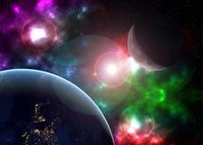 Arte cosmica creativa luna e terra nella galassia dello spazio scuro Gli elementi di questa immagine hanno fornito dalla NASA f fotografia stock libera da diritti