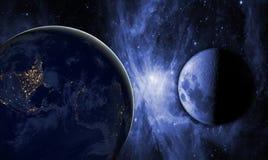 Arte cosmica creativa luna e terra nella galassia dello spazio scuro Gli elementi di questa immagine hanno fornito dalla NASA f fotografie stock libere da diritti