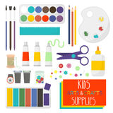 A arte crafts artigos para a faculdade criadora das crianças Grupo de fontes da arte para crianças Ilustração do vetor Foto de Stock