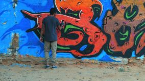 Arte criativa - adolescente que pinta grafittis abstratos coloridos do ornamento na parede da rua com pulverizador de aerossol Mo vídeos de arquivo