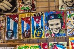 Arte cubano que ofrece a Che Guevara para la venta en Trinidad, Cuba fotografía de archivo