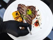 Arte culinario de adornamiento de la comida del trabajo del estilista de la comida Foto de archivo