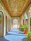 Arte da era de Qajar na mansão de Zinat Ol-Molk, Shiraz, Irã Foto de Stock Royalty Free