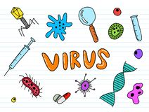 Arte da garatuja do vírus com cor do cheerfull do colourfull da cor ilustração do vetor