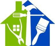 A casa utiliza ferramentas o logotipo Foto de Stock