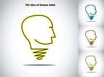 Arte da ilustração do conceito do sumário da ideia da ampola de cabeça humana Foto de Stock Royalty Free