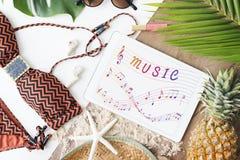 Arte da nota da música do conceito instrumental sadio Fotos de Stock Royalty Free