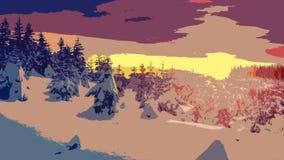 Arte da paisagem do inverno Foto de Stock