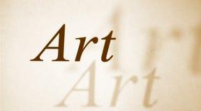 Arte da palavra em um papel fotografia de stock
