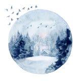 Arte da parede da aquarela, paisagem do inverno ilustração do vetor