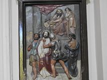 Arte da parede da crucificação de Jesus Christ foto de stock royalty free